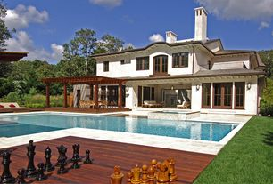 Mediterranean Swimming Pool with Pool with hot tub, Trellis, French doors
