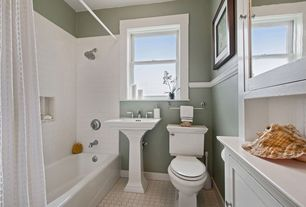 Cottage Full Bathroom with Pedestal sink, penny tile floors, Kohler memoirs white fire clay complete pedestal sink, Flush