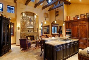 Mediterranean Kitchen with Breakfast bar, L-shaped, Flat panel cabinets, High ceiling, Kitchen island, Skylight, Exposed beam