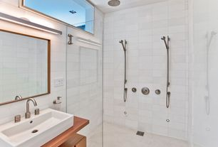Contemporary 3/4 Bathroom with Handheld showerhead, Anders teak vessel sink vanity, frameless showerdoor, Vessel sink