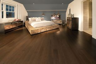 Contemporary Master Bedroom with Zentique -  recycled pine chest, Reclaimed barnwood platform bed frames, flush light