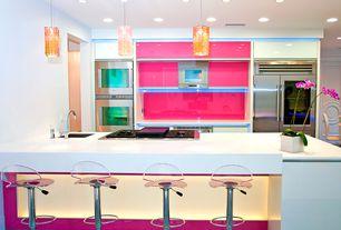 Eclectic Kitchen with PentalQuartz BQ200 Super White, Sub-Zero 648PROG PRO 48 With Glass Door