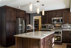 "Traditional Kitchen with Danish Cylinder Pendant, Flush, Pendant light, Dynasty Hardware European 6.75"" Bar Pull, L-shaped"