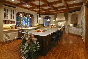 Traditional Kitchen with Arched window, Designers Fountain Addison 1 Light Mini Pendant, Pendant light, Crown molding