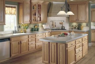 Country Kitchen with Framed Partial Panel, Raised panel, partial backsplash, Casement, Kitchen island, L-shaped, drop-in sink