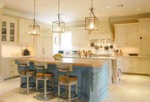 Traditional Kitchen with Ms International Opal Beige Marble, Glass panel, Premier Steel Wall Pot Rack, Custom hood