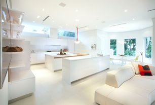 Contemporary Kitchen with Efaucets quartz countertop, L-shaped, European Cabinets, Breakfast nook, Custom hood, Pendant light