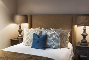 Contemporary Guest Bedroom with Restoration hardware: warner fabric bed in belgian linen, wheat, High ceiling, Paint