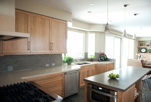 Contemporary Kitchen with L-shaped, Gas stove, Can light, Built-in bookshelf, Ikea quartz countertop, Flush, Pendant light