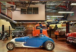 Modern Garage with Exposed ductwork, Concrete tile , Auto lift car park 7 four post car storage parking lift, Vintage cars