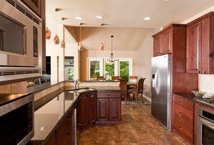Traditional Kitchen with Limestone Tile, Stone Tile, Ms International Coffee Brown Granite, Raised panel, U-shaped