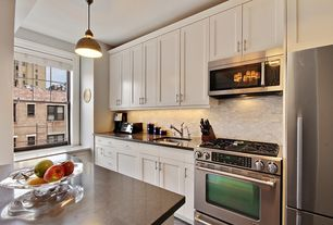 Contemporary Kitchen with slate tile floors, Subway Tile, Inset cabinets, Durasupreme Cabinets - Arcadia Panel in white
