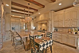 Country Kitchen with Pental Torrencio Polished Granite, High ceiling, limestone tile floors, Stone Tile, Custom hood