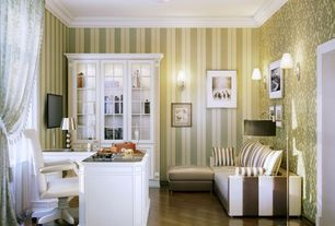 Traditional Home Office with interior wallpaper, Crown molding, Hardwood floors, flush light, Wall sconce