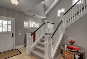 Traditional Staircase with Pottery Barn Mia Faceted Crystal Oversized Flushmount Ceiling Fixture, Round side table, Carpet
