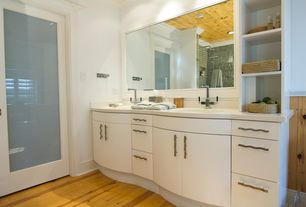 Contemporary Master Bathroom with French doors, Corian counters, Double sink, European Cabinets, Rain shower, Hardwood floors