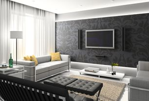 Modern Living Room with Barcelona sofa, Concrete floors, Lc2 petit modele three-seat sofa, interior wallpaper