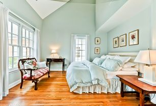 Traditional Master Bedroom with Hardwood floors, double-hung window, Paint, High ceiling, Safavieh - roxanne table lamp