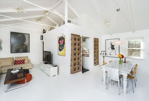 Eclectic Great Room with flush light, Hardwood floors, Exposed beam, Chandelier