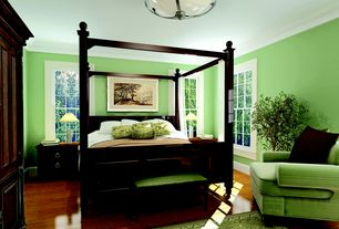 Traditional Master Bedroom with Crown molding, flush light, double-hung window, Standard height, Hardwood floors