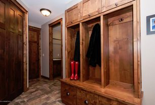 Craftsman Mud Room with Minka Lavery Pacifica Flushmount, Rusticware Cabinet Hardware Collection 960ORB Cup Pull, flush light