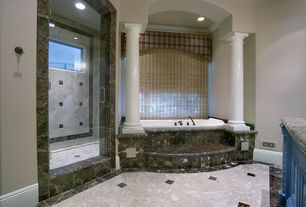 Traditional Master Bathroom with Crown molding, Oregon Tile & Marble Natural Stone Tile Marble - New Spring Cloud, Columns