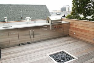 "Modern Deck with Fire pit, Outdoor kitchen, Woodland Direct 24"" x 24"" Square Crystal Burner"