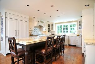Traditional Kitchen with Bulbrite dimmable led downlight retrofit recessed lighting kit, Kitchen island, Undermount sink