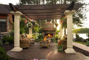 Traditional Patio with Trellis, exterior tile floors, exterior terracotta tile floors