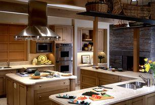 Craftsman Kitchen with Flush, Flat panel cabinets, U-shaped, Simple Granite, Kitchen island, European Cabinets