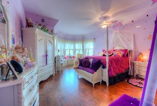Traditional Kids Bedroom with Hardwood floors, PB Teen Ruched Quilt, Built-in bookshelf, Ceiling fan