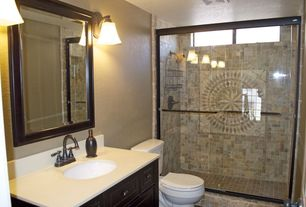 Mediterranean 3/4 Bathroom with Choose Framed Shower Swing Doors Configurations, Flat panel cabinets, Undermount sink, Flush