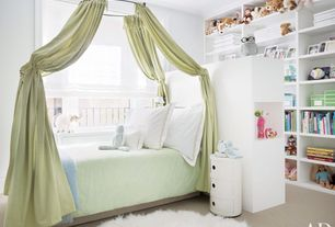 Contemporary Kids Bedroom with Crown molding, Built-in bookshelf, Carpet