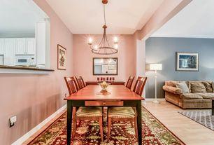 Craftsman Dining Room with Hardwood floors, Standard height, Paint, Exposed beam, Chandelier