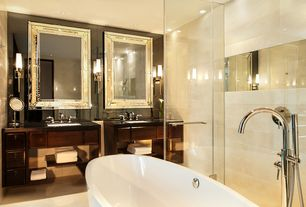 Contemporary Master Bathroom with Flush, Handheld showerhead, World Imports Luray 1 Light Sconce, Rain shower, Freestanding