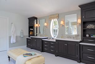 Traditional Master Bathroom with Undermount sink, Subway Tile, Master bathroom, Wall sconce, Flat panel cabinets