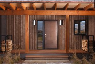 Contemporary Front Door with six panel door, Casement, picture window, exterior tile floors, Trellis