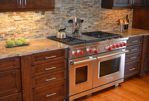 """Contemporary Kitchen with One-wall, Wolf - 48"""" gas range, Standard height, full backsplash, Stone Tile, Slate Tile"""