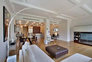 Contemporary Great Room with Built-in bookshelf, Columns, Hardwood floors, Exposed beam