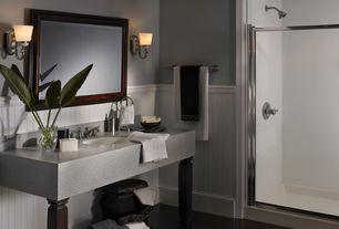 Contemporary 3/4 Bathroom with Pental Altea Quartz, Quartz counters, Concrete floors, Wall sconce, Wainscotting