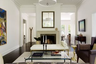 Contemporary Living Room with Pendant light, Crown molding, Laminate floors
