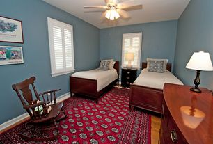 Traditional Guest Bedroom with Chandelier, Wildon Home Grand Ronde Rocking Chair, Paint, Casement, Hardwood floors