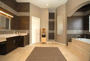 Contemporary Master Bathroom with Vessel sink, limestone tile floors, Flush, Ceramic Tile, Limestone, Master bathroom