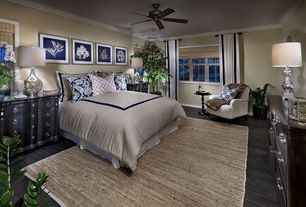 Traditional Master Bedroom with Hardwood floors, Crown molding, Ceiling fan