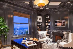 Traditional Home Office with Fireplace, Box ceiling, double-hung window, Built-in bookshelf, Crown molding, stone fireplace