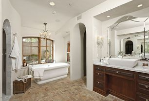 Traditional Master Bathroom with Master bathroom, Wall sconce, Chandelier, Handheld showerhead, Complex Marble, Vessel sink