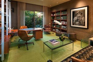 Modern Home Office with Flor Carpet Tile Reverb Lime, Bruce Walnut and Black Modern Office Chair, Torben Lind Style Loveseat