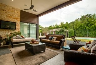 Modern Patio with exterior tile floors, Pathway, Fence, Lap pool