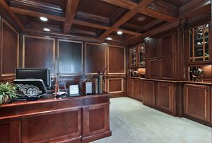 Traditional Home Office with Crown molding, Built-in bookshelf, Chair rail, Standard height, can lights, Carpet, Box ceiling