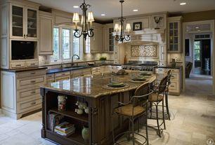 Traditional Kitchen with Multiple Sinks, Kitchen island, full backsplash, Flush, Casement, stone tile floors, Custom hood